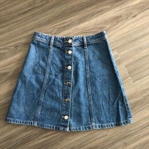 Denim button down skirt